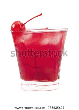 Eden cocktail isolated on white background. Made from 2 oz gin, 1/2 oz Campari, 1 oz fresh lemon juice, 1/2 oz rose syrup