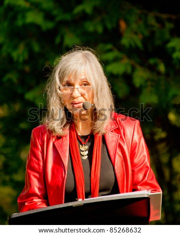 EDEN MILLS, ON - SEPTEMBER 18: Internationally celebrated folksinger and Canadian Diva, Sylvia Tyson, reads from her novel at the annual Writers Festival in Eden Mills, Ontario on September 18, 2011. - stock photo