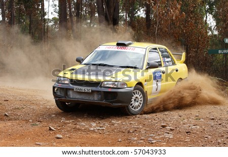 EDEN, NSW - JUNE 13: Bryan Van Eck and Jim Gleeson at the Bega Vally Rally round 2 of the victorian rally championships, June 13, 2010, Eden,NSW, Australia - stock photo