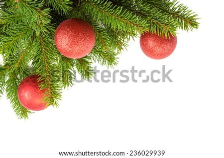 edge for christmas card with red balls - stock photo
