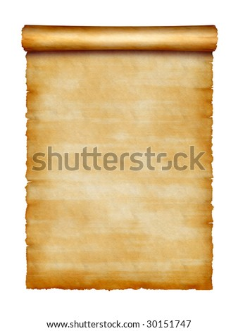 edge of old scroll isolated on white background