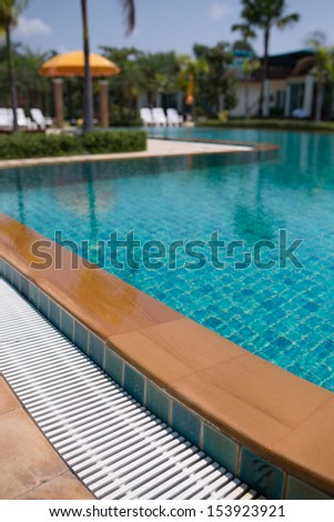 edge of swimming pool, selective focus