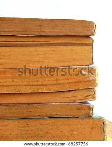 edged of stack old dirty books in isolated - stock photo