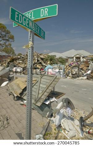 Edgewater St. sign on street where Hurricane Ivan in Pensacola Florida hit - stock photo