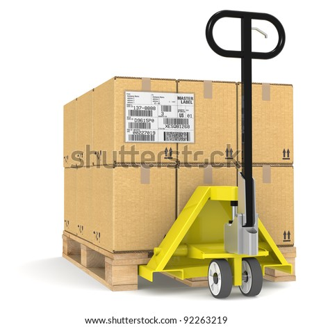 EDI. Pallet Truck/Jack and a Pallet With Cardboard Boxes. Sample EDI Label - stock photo