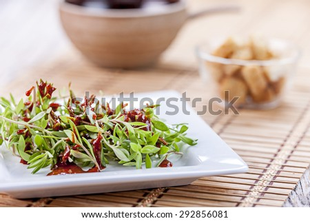 Edible sedum salad. - stock photo