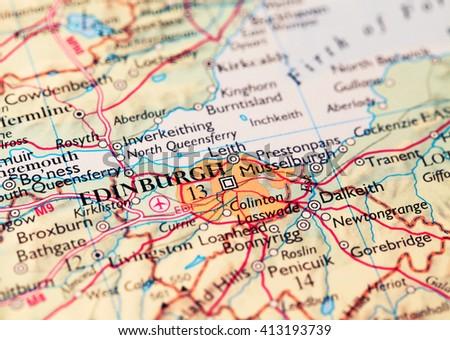 Edinburg City Scotland, on atlas world map - stock photo