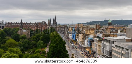 EDINBURG, SCOTLAND - JULY 17, 2016: Aerial view of Edinburgh Old Town from the Giant Wheel , Scotland. Old Town and New Town are a UNESCO World Heritage Site