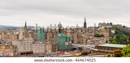 EDINBURG, SCOTLAND - JULY 17, 2016: Panorama of Edinburgh from the Scotland. Old Town and New Town are a UNESCO World Heritage Site