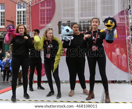 EDINBURGH- AUGUST 13: Members of Kite Tail Theatre Company publicize their show The Toyland Murders during Edinburgh Fringe Festival on August 13, 2016 in Edinburgh, UK