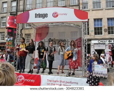 EDINBURGH - AUGUST 8: Members of Patch of Blue publicize their show Back to Blackbrick during Edinburgh Fringe Festival on August 8, 2015 in Edinburgh, Scotland - stock photo