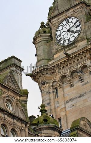Edinburgh Balmoral Hotel Architecture Details - stock photo
