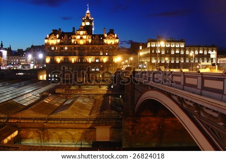 Edinburgh by night - stock photo