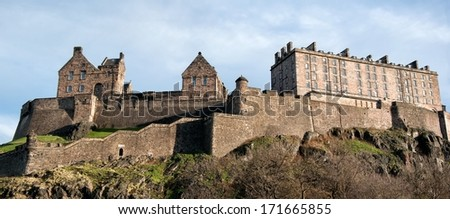 Edinburgh castle and fortress on the hill - stock photo