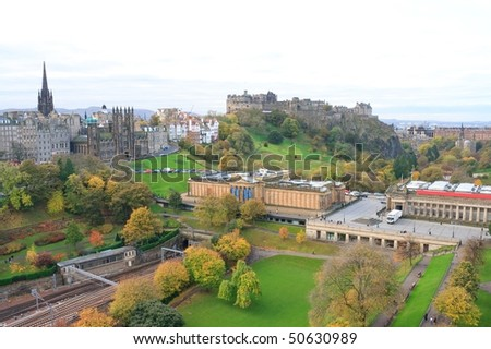 Edinburgh Castle and Park - stock photo
