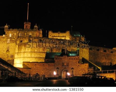 Edinburgh Castle at night - stock photo