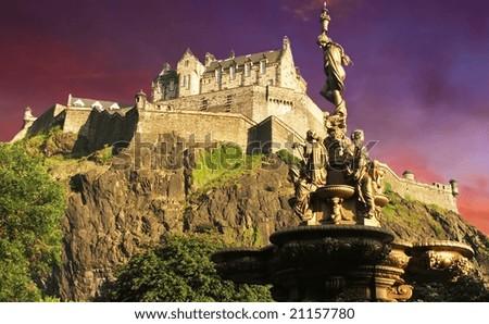 Edinburgh Castle at sunset - stock photo