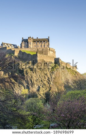 Edinburgh Castle on Castle Rock, Edinburgh, Scotland, The United Kingdom of Great Britain and Northern Ireland - stock photo