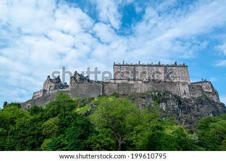Edinburgh Castle on Castle Rock in Edinburgh, Scotland, UK - stock photo