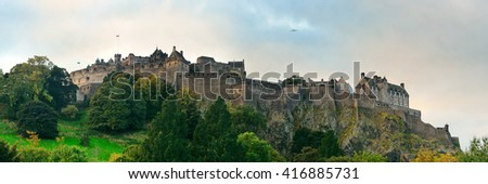 Edinburgh castle panorama as the famous city landmark. United Kingdom. - stock photo