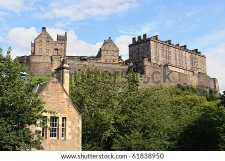 Edinburgh Castle, Scotland, from King's Stables Road. - stock photo