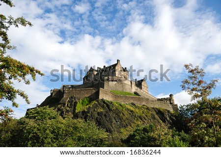 Edinburgh Castle, Scotland, UK, from the North West in the late afternoon after rain has cleared the air.