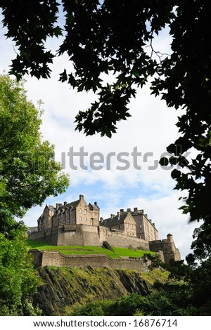 Edinburgh Castle, Scotland, UK, from the North West in the late afternoon after rain has cleared the air. - stock photo