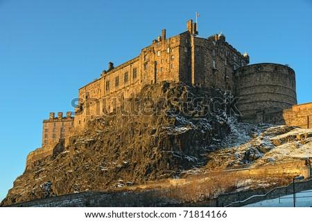 Edinburgh Castle, Scotland, UK, late on a winter afternoon - stock photo