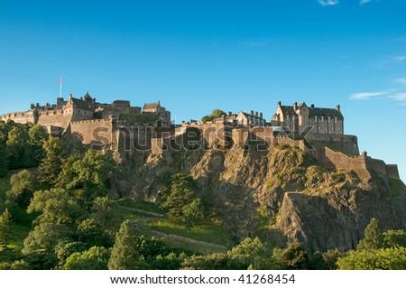 Edinburgh Castle (UK) on a clear sunny day - stock photo