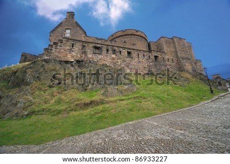 Edinburgh Castle, view from the cobbled road - stock photo