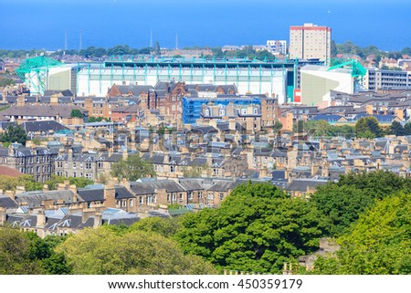 Edinburgh city aerial view and football stadium as seen from Nelson monument - stock photo