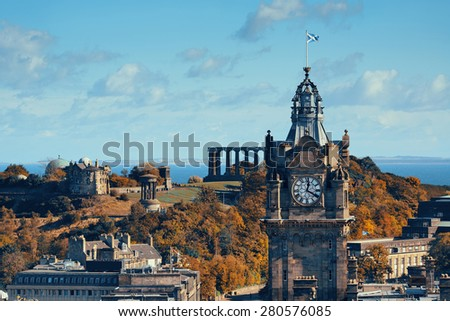 Edinburgh city rooftop view with historical architectures. United Kingdom. - stock photo