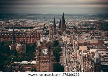 Edinburgh city street viewed from Calton Hill. United Kingdom. - stock photo