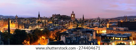 Edinburgh city view panorama at night in UK. - stock photo