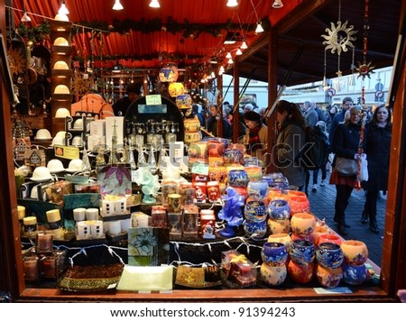 EDINBURGH - DECEMBER 17: items for sale at the German Market on the Mound on December 17, 2011 in Edinburgh, UK. In recent years the market has been a popular addition to the festivities in Edinburgh. - stock photo