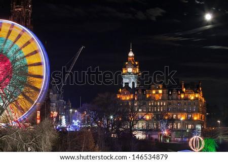 Edinburgh in christmas time - stock photo