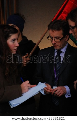 EDINBURGH - JANUARY 15, 2009: A letter from students condemning the Israeli attacks on Palestine is handed over January 15th, 2009 at the Scottish Parliament in Edinburgh, Scotland.