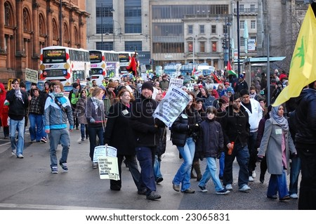 EDINBURGH - JANUARY 10: Anti-Israel protesters march through central Edinburgh January 10th, 2009 in Edinburgh, Scotland. - stock photo