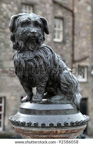EDINBURGH - JUNE 07 : Life-size statue of Greyfriars Bobby a Skye Terrier who spent 14 years guarding the grave of his owner, John Gray, until he died on 14 January 1872 on June 07, 2009 in Edinburgh.