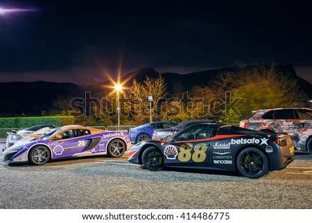 EDINBURGH MAY 1: Gumball 3000 rally cars staying overnight in Edinburgh, during the 2016 edition going from Dublin to Bucharest, May 1, 2016 in Edinburgh, UK - stock photo