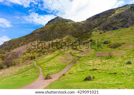 Edinburgh mountain green grass skyline, Beautiful view of the city - stock photo