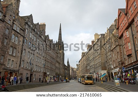 EDINBURGH - OCT 13: The famous Royal Mile in Edinburgh, Scotland. The Royal Mile runs between Edinburgh Castle and Holyrood Palace. On October 13, 2013 in Edinburgh, UK. - stock photo