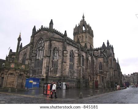 Edinburgh Royal Mile Church - stock photo
