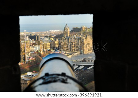 Edinburgh, Scotland as seen from the Edinburgh Castle  - stock photo