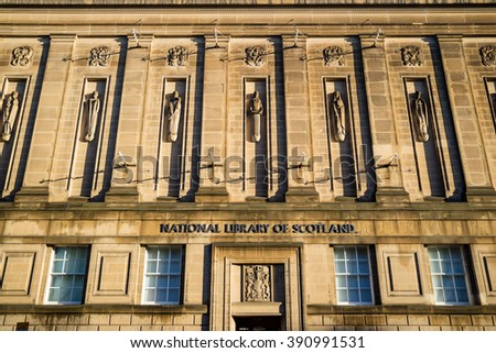 EDINBURGH, SCOTLAND -DEC 9: The national library of Scotland on December 9, 2015 in Edinburgh