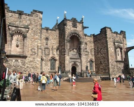 EDINBURGH-SCOTLAND - JULY 30: Edinburgh Castle, Scotland's most visited paid tourist attraction on July 30, 2009 in Edinburgh, Scotland. - stock photo