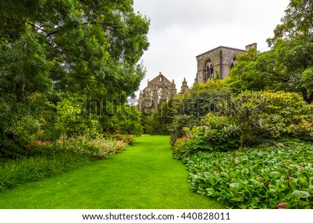 Edinburgh, Scotland - July 28, 2012: The gardens of  the Holyroodhouse Palace .