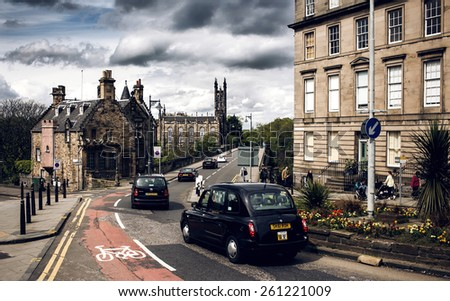 EDINBURGH, SCOTLAND - MAY 06, 2014: City view of Edinburgh. Edinburgh is the capital city and second most populous city in Scotland. - stock photo