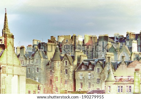 Edinburgh, Scotland: Roofs and Houses in the evening sun. - stock photo