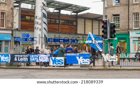 EDINBURGH, SCOTLAND, UK - September 18, 2014 - LEITH community expressing their opinion on independence during referendum day - stock photo